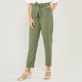 Solid Mid-Rise Pants with Pocket Detail and Tie Ups