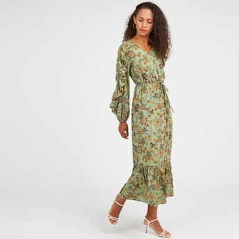 Printed Maxi A-line Dress with Bishop Sleeves and Tie Ups