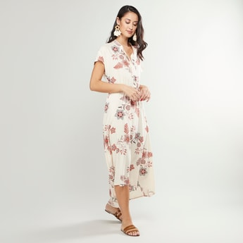 Floral Printed Maxi Dress with Mandarin Collar and Asymmetric Hem
