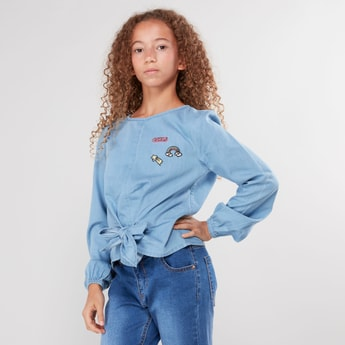 Denim Top with Long Sleeves and Tie-Ups
