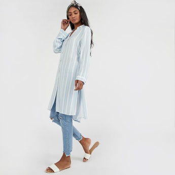 Striped Long Sleeves Tunic with V-neck and High Low Hem