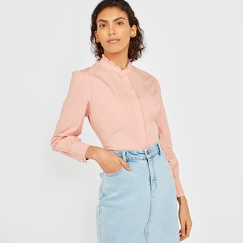 Solid Shirt with Pie Crust Collar and Long Sleeves