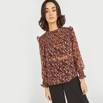 Floral Print Top with HIgh Neck and Bishop Sleeves
