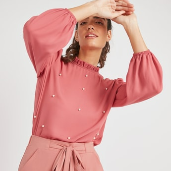 Pearl Detail Solid Top with High Neck and Long Sleeves