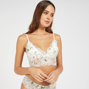 Floral Print Lace Padded Bralette with Adjustable Straps