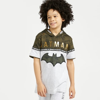 Batman Print T-shirt with Hood and Short Sleeves