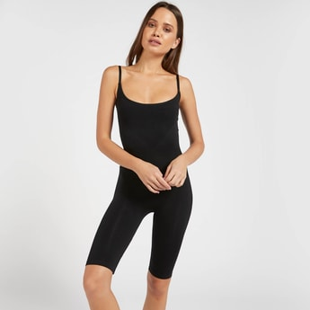 Solid Shaping Sleeveless Bodysuit with Scoop Neck