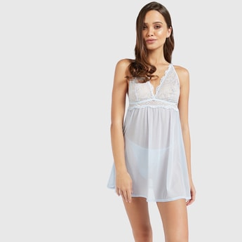 Lace Detail Babydoll Sleeveless Dress with Thong