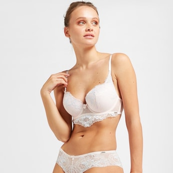 Lace Detail Demi Bra with Hook and Eye Closure
