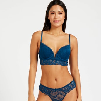 Lace Detail Padded Balconette Wired Bra with Hook and Eye Closure
