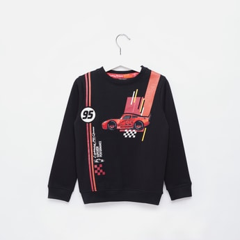 Cars Print Round Neck Sweatshirt with Long Sleeves