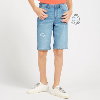 Solid Denim Shorts with Pockets and Button Closure