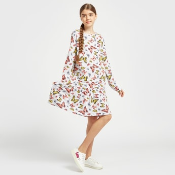 All-Over Butterfly Print Dress with Round Neck and Long Sleeves
