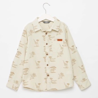 All-Over Print Collared Neck Shirt with Long Sleeves