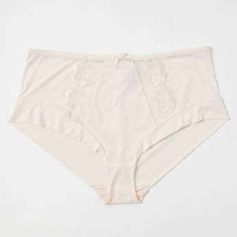 Embroidery Detail Full Briefs with Elasticated Waistband