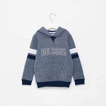 Embroidered Detail Sweatshirt with Long Sleeves and Hood