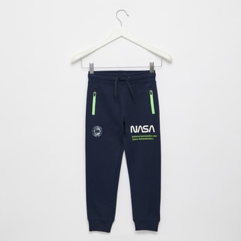 Nasa Print Joggers with Zip Pockets and Drawstring Closure