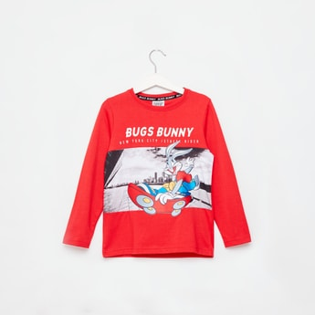 Bugs Bunny Print Round Neck T-shirt with Long Sleeves