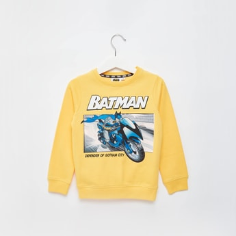 Batman Print Sweatshirt with Round Neck and Long Sleeves