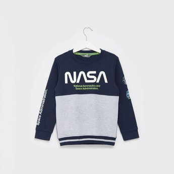 NASA Photographic Print Round Neck Sweat Top with Long Sleeves