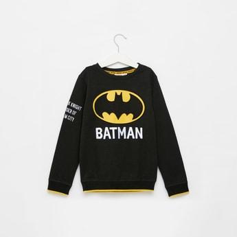 Batman Embossed Print Sweatshirt with Round Neck and Long Sleeves