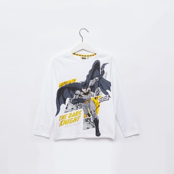 Batman Print T-shirt with Round Neck and Long Sleeves