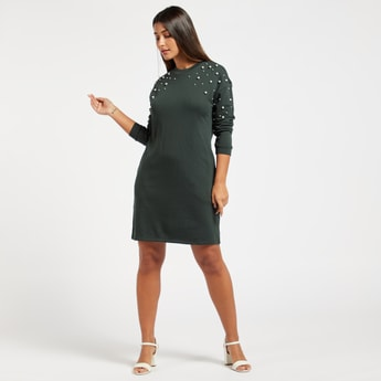 Pearl Detail Knee Length Sweat Dress with Long Sleeves