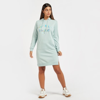 Embossed Print Sweat Dress with Long Sleeves and Kangaroo Pocket