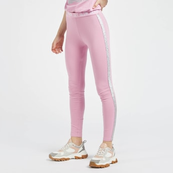 Full Length Leggings with Lurex Tape Detail and Elasticated Waistband