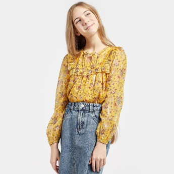 Floral Print Top with Ruffles and Long Sleeves