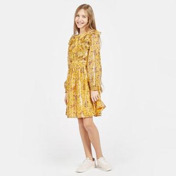 فستان ميني بأكمام بيشوب وتفاصيل كشكش مع طبعات أزهار بالكامل