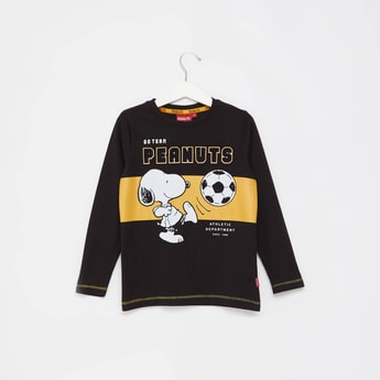 Peanuts Themed Round Neck T-shirt with Long Sleeves