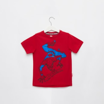 Spider-Man Print T-shirt with Round Neck and Short Sleeves