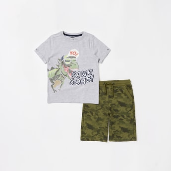 Dinosaur Print Round Neck T-shirt and Shorts Set