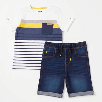 Striped Round Neck T-shirt and Shorts Set