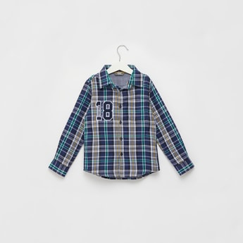 Chequered Double Cloth Shirt with Long Sleeves and Button Closure
