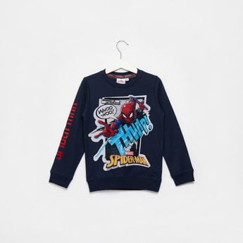 Spider-Man Graphic Print Sweatshirt with Round Neck and Long Sleeves