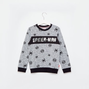 Spider-Man Print Sweatshirt with Long Sleeves