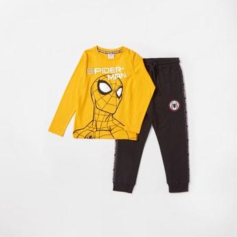 Spider-Man Graphic Print Long Sleeves T-shirt and Jog Pants Set
