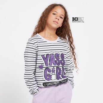 Striped T-shirt with Text Print and Long Sleeves