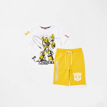 Transformers Graphic Print Short Sleeves T-shirt with Shorts