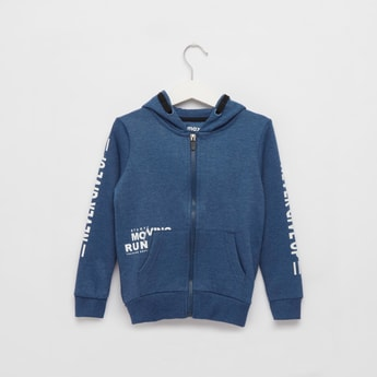 Text Print Hoodie Jacket with Long Sleeves and Pocket Detail