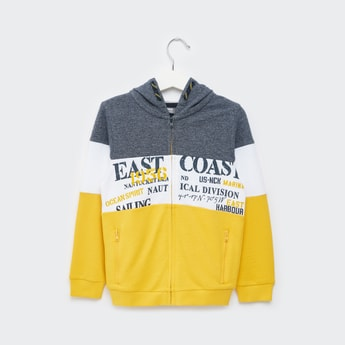 Colourblock Print Jacket with Long Sleeves and Hood