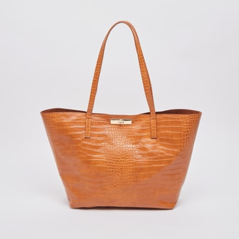Textured Tote Bag with Twin Handles