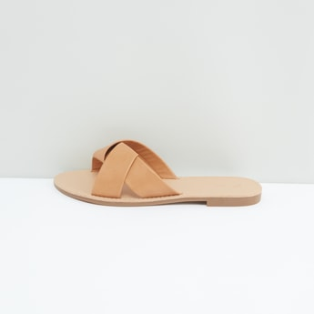 Flat Strap Sandals with Slip-On Closure