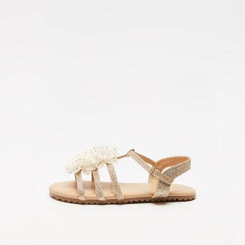 Flower Applique Glitter Detail Sandals with Hook and Loop Closure
