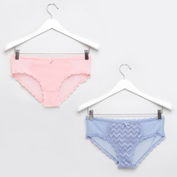 Lace Detail Hipster Briefs with Elasticised Waistband - Set of 2