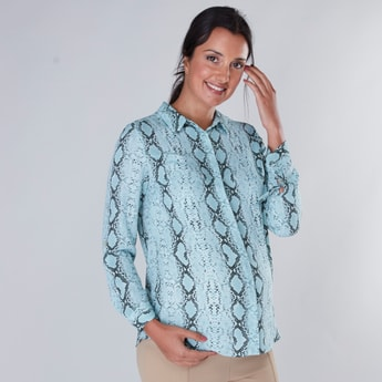 Maternity Printed Shirt with Long Sleeves and Concealed Placket