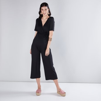 Maternity Ribbed Jumpsuit with Tie Ups