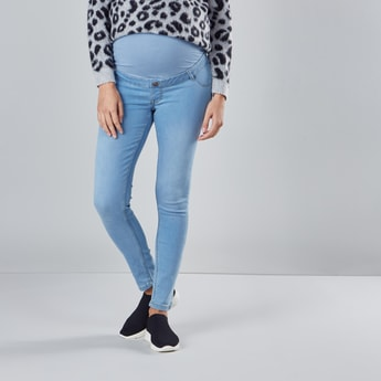 Full Length Maternity Jeans with Pocket Detail and Loops
